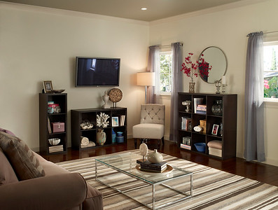 Living room with ClosetMaid Decorative Storage units in 3-, 6- and 9-Cube designs.  Shownfinish: Chocolate Walnut.