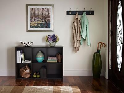 Entryway storage area created using a ClosetMaid Decorative Storage 6-Cube Organizer in Chocolate Walnut