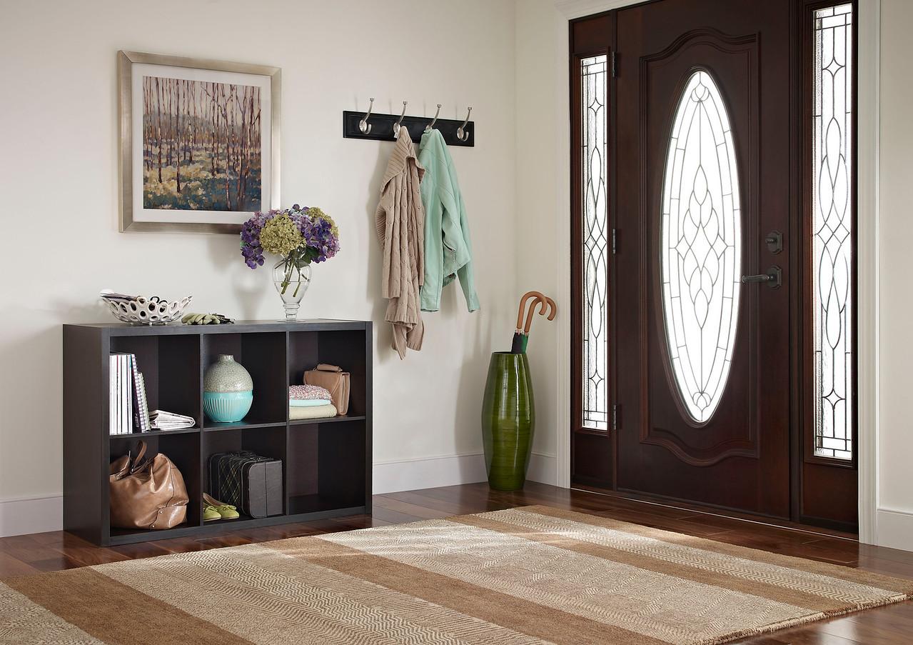 Entryway Storage Area Created Using A ClosetMaid Decorative Storage 6 Cube  Organizer In Chocolate Walnut