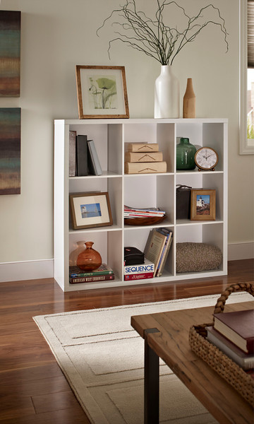 Living room with a ClosetMaid Decorative Storage 9-Cube Organizer in White