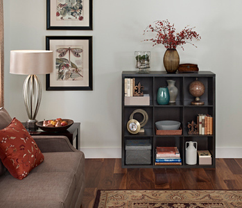 Living room with a ClosetMaid Decorative Storage 9-Cube Organizer in Chocolate Walnut