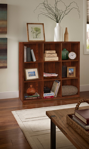 Living room with a ClosetMaid Decorative Storage 9-Cube Organizer in Dark Cherry