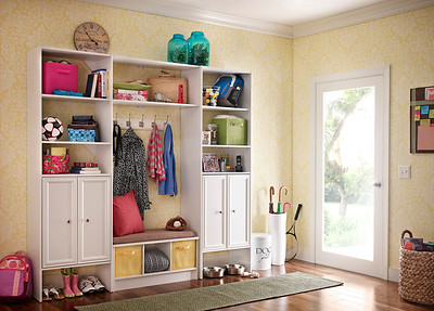 Mudroom storage area created with ClosetMaid Selectives and a Cubeicals 3-Cube Storage Bench in White