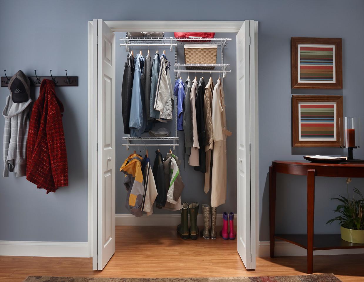 Hall Closet Using ClosetMaid ShelfTrack In White