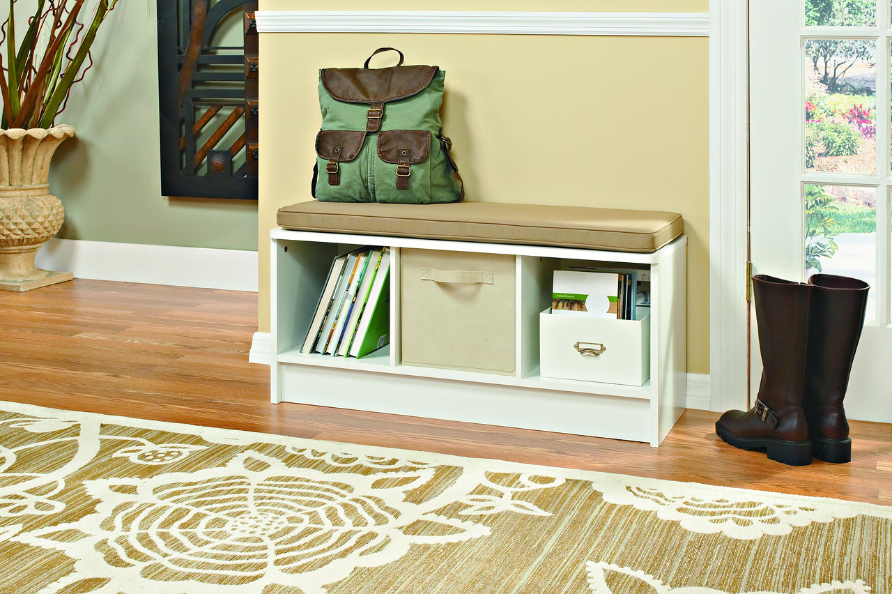Entryway featuring a ClosetMaid Cubeicals 3-Cube Storage Bench in White with a Fabric Drawer in Natural