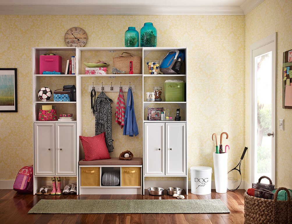 Mudroom Storage Area Created With ClosetMaid DIY Laminate Shelving And A  Cubeicals 3 Cube Storage