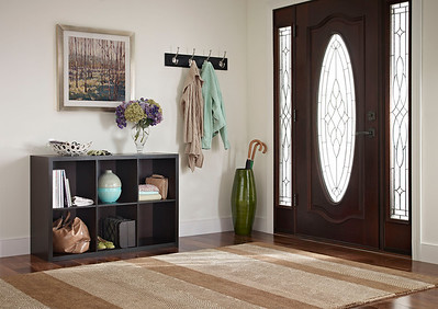 Entryway storage area created using a ClosetMaid Decorative Storage 6-Cube Organizer in Chocolate Walnut