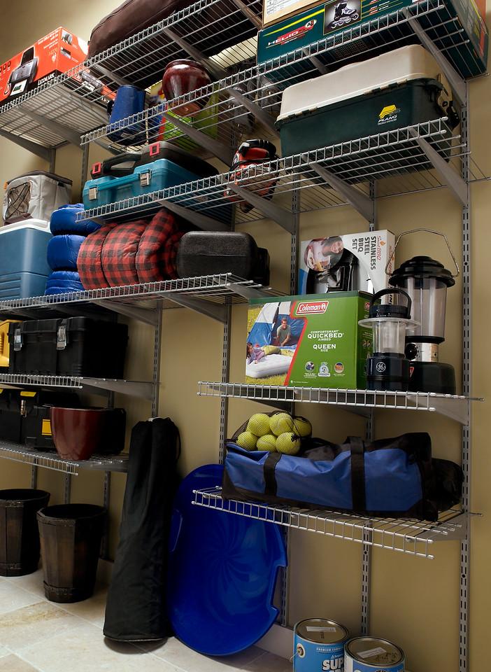Garage storage area utilizing ClosetMaid Heavy Duty Wire Shelving in Satin Chrome