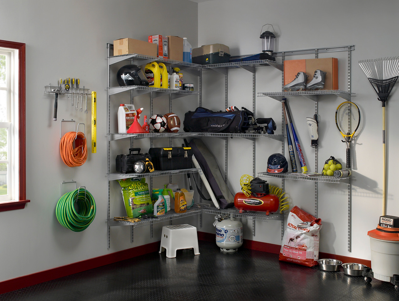 Garage storage area utilizing ClosetMaid Heavy Duty Wire Shelving in Satin Chrome