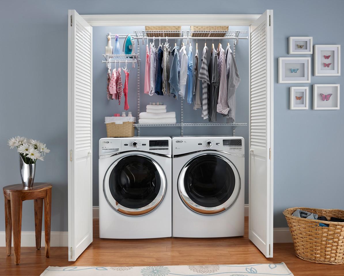 Laundry storage area using ClosetMaid ShelfTrack in White