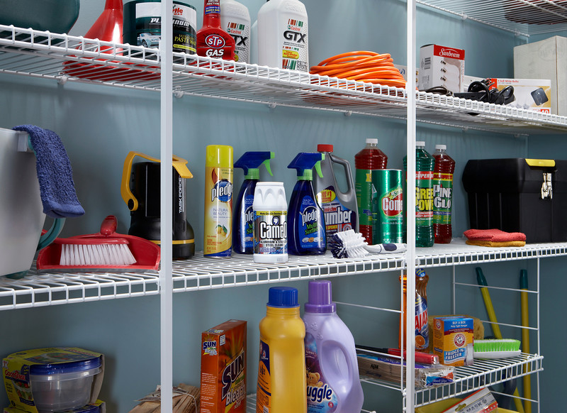 Utility room storage area using ClosetMaid wire shelving in White