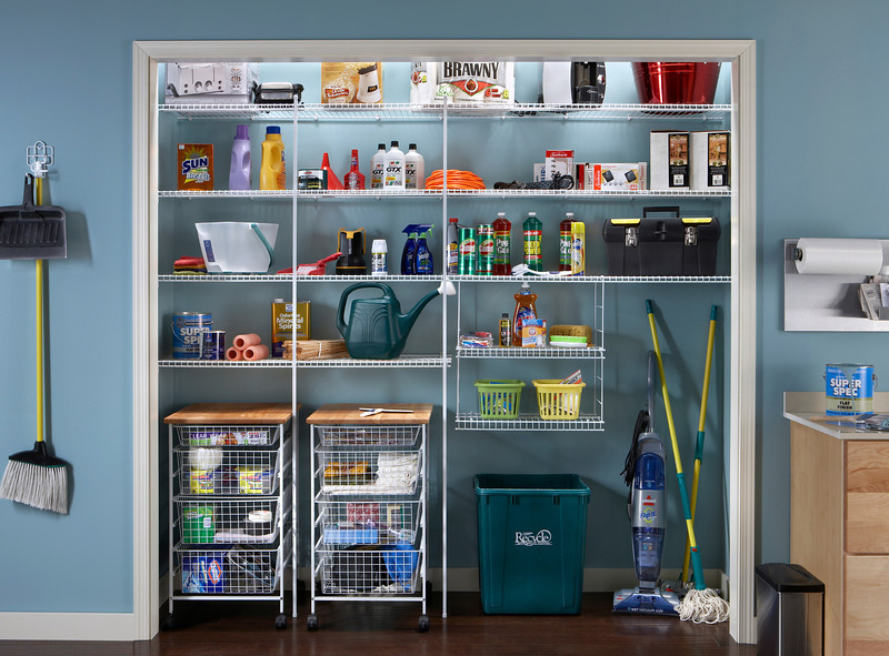 Utility room storage area with ClosetMaid wire shelving in White