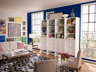Living room with a display/storage area created with ClosetMaid Selectives in White