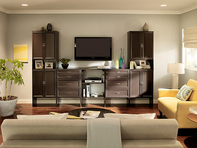 Living room with a display/storage area created with ClosetMaid SuiteSymphony in Espresso.