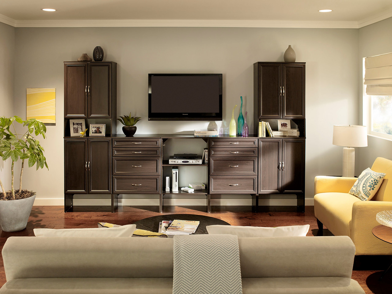 Nice Living Room With A Display/storage Area Created With ClosetMaid  SuiteSymphony In Espresso.
