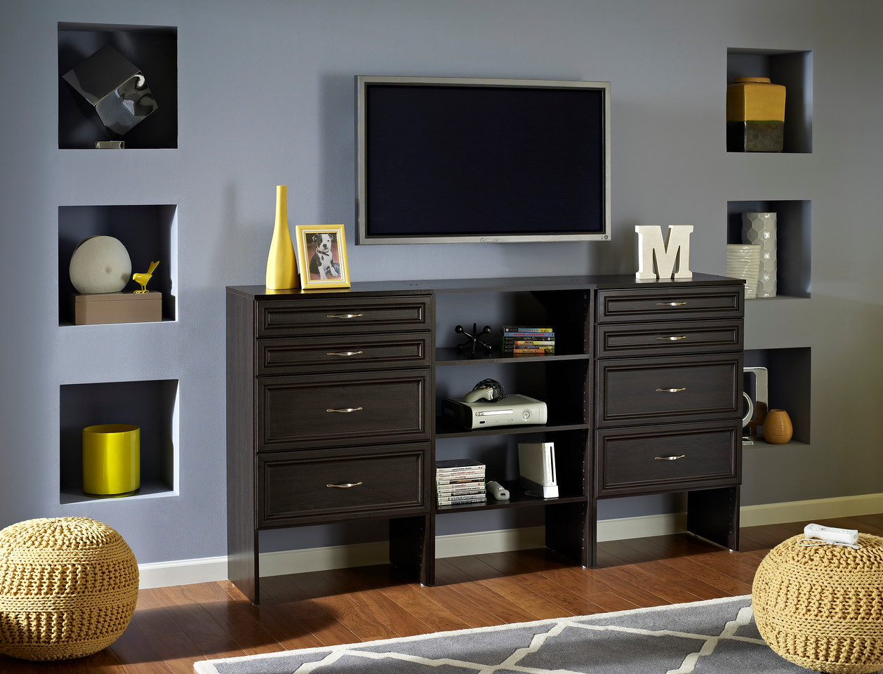 A Media Center/storage Area Created With ClosetMaid SuiteSymphony In  Espresso.