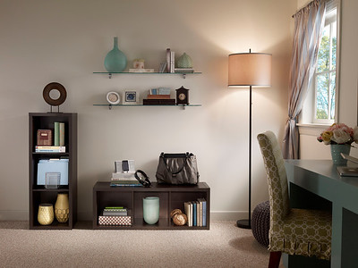 Home office storage area created with ClosetMaid Decorative Storage 3-Cube Organizers in Chocolate Walnut