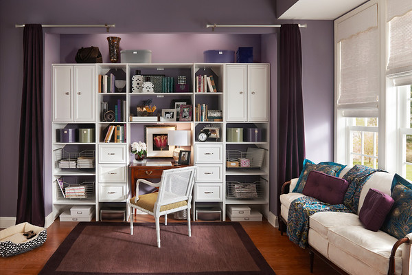 Home office work and storage area created with ClosetMaid Selectives in White.