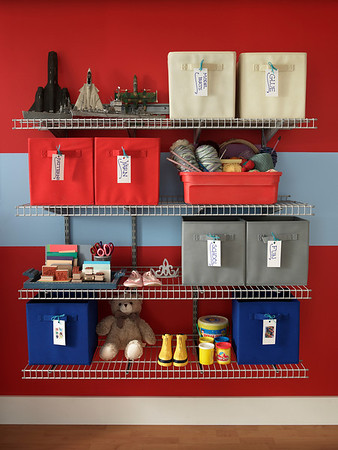 Playroom storage area created with ClosetMaid Shelftrack wire shelving in Nickel