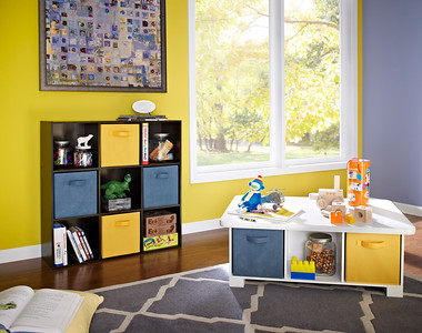 ClosetMaid Cubeicals 9-Cube Organizer in Espresso and Activity Table in White
