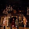 (l-r) Sam Crane, Melody Grove, Lucas Hall, Huss Garbiya, Edward Peel and Mark Rylance in Farinelli and the King<br /> <br /> Farinelli and the King<br /> Belasco Theatre<br /> <br /> CAST & CREATIVE<br /> <br /> Cast<br /> <br /> King Philippe V of Spain Mark Rylance<br /> Farinelli Sam Crane<br /> John Rich Colin Hurley<br /> Farinelli Singing Voice Iestyn Davies<br /> Isabella Farnese Melody Grove<br /> Doctor Jose Cervi Huss Garbiya<br /> De La Caudra Edward Peel<br /> Creative<br /> <br /> Written by Claire van Kampen<br /> Director John Dove<br /> Set Designer Jonathan Fensom