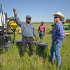 Wesley Radcliff, Freestone County, and Mike Stellbauerer, range management specialist, visit at Radcliff's ranch.