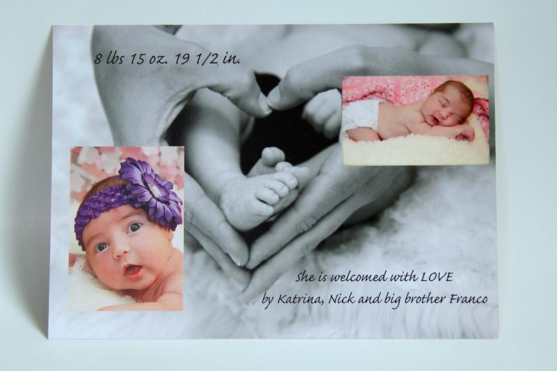 Custom  Flat Press Printed Birth Announcement