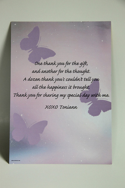 Back of a custom thank you cards.