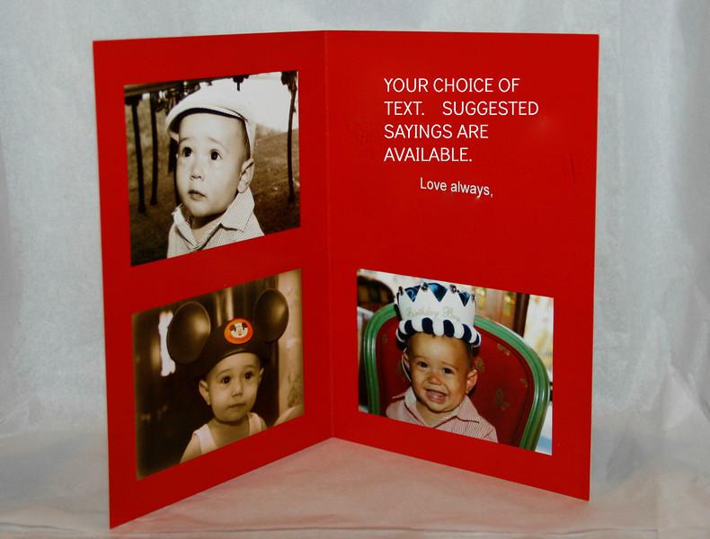 Inside of custom folded thank you card