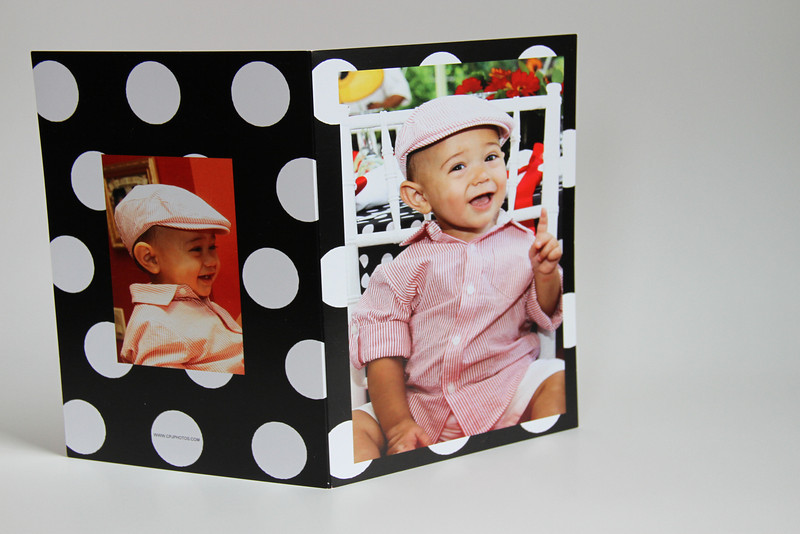 Front and Back of custom folded thank you Card