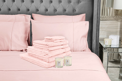 Pink Towels 2 Candles