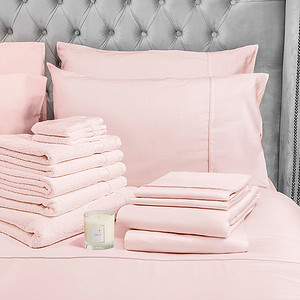 Pink Bedding Lifestyle With Candle