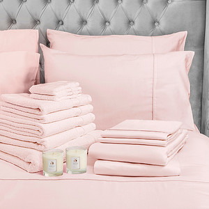 Pink Bedding Lifestyle With Candle Square