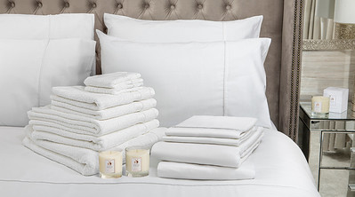 White Bedding Lifestyle With Candle v2 Banner