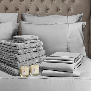 Grey Bedding Lifestyle With Candle v2 Square