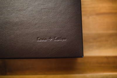 10x10 Flushmount Album covered in an espresso leather with debossed lettering