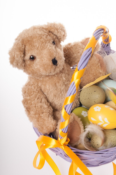 Easter teddy bear with Easter eggs isolated on white background