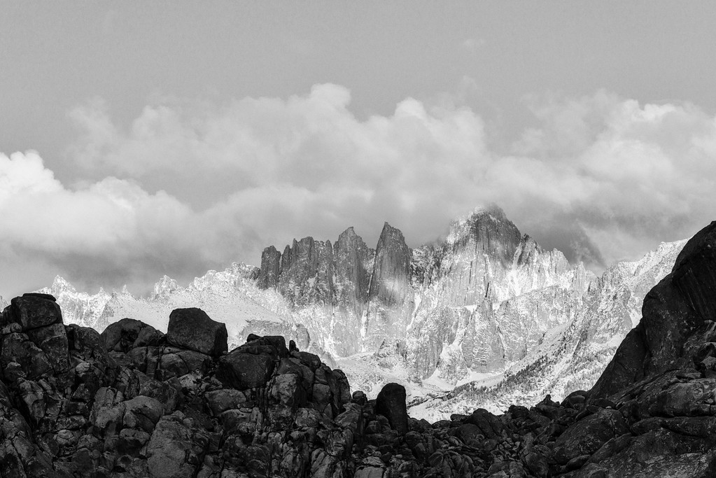 Mt. Whitney in clouds- black and white