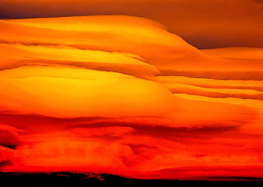 Orange and Red Wave Clouds, Sierra Nevada, CA
