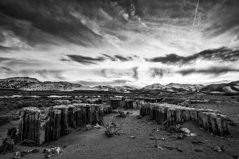 Black and White Sierra Crest sunset from the Sand Tufa