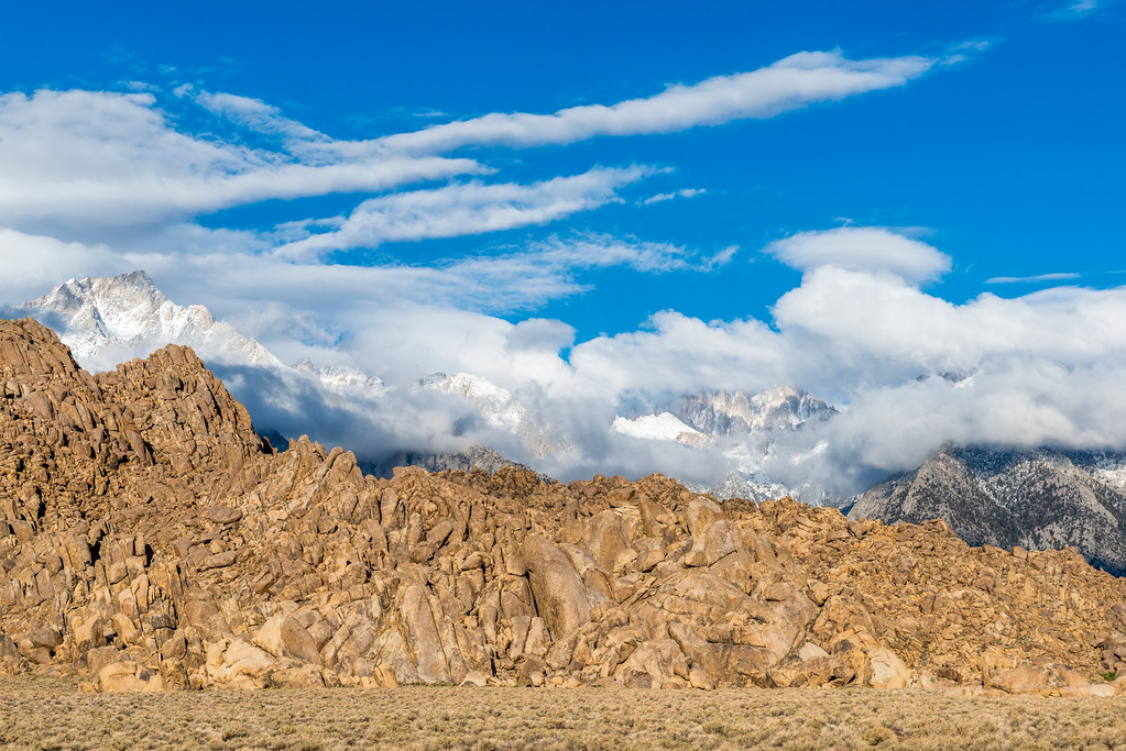Stormy day at Alabama Hills and Lone Pine Peak