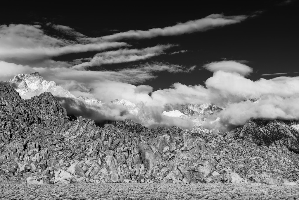 Stormy day at Alabama Hills and Lone Pine Peak- black and white