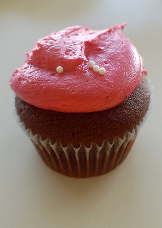 Chocolate cupcake with raspberry frosting