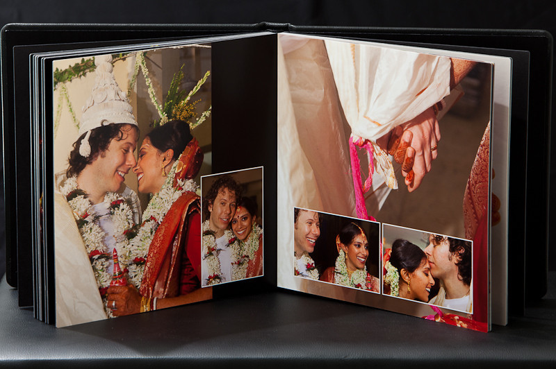 "WEDDING ALBUM, 10"" X 10"", Hand-crafted in USA, Lay flat (flush mount), Leather cover/spine, printed on lustre photographic paper"