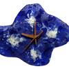 """Blue Cloud Clock with copper hands<br /> 9.5"""" x 7.5"""" x 1.5""""<br /> fused bottle glass"""