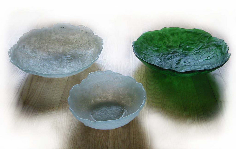 Glass bowl series- <br /> 2 large and 1 small are shown in green and opaque (cloud)