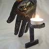 Small Chamsah (sacred hand symbol) candle holder <br /> -detail back view, votive holder