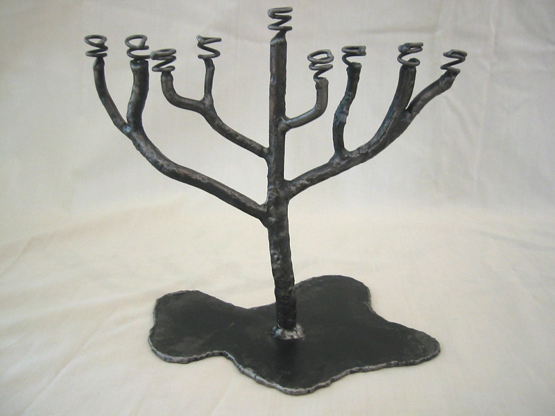"Menorah Candle Holder<br /> 9"" x 8"" x 5""<br /> welded steel"