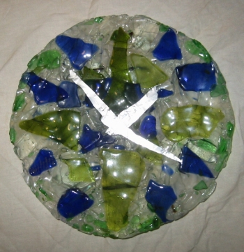 "Blue Green Clock<br /> 9.5"" x 9.5"" x 1.5""<br /> fused bottle glass"