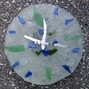 "Blue Green Clock- small shards<br /> 9.5"" x 9.5"" x 1.5""<br /> fused bottle glass"